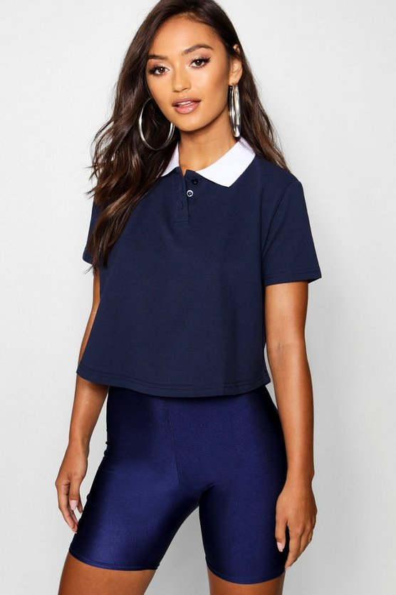 Womens Navy Petite Crop Polo Shirt