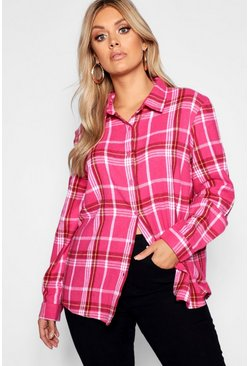 Womens Pink Plus Checked Oversized Shirt