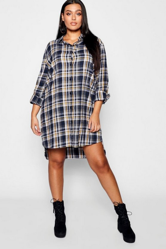Plus Check Oversized Shirt Dress