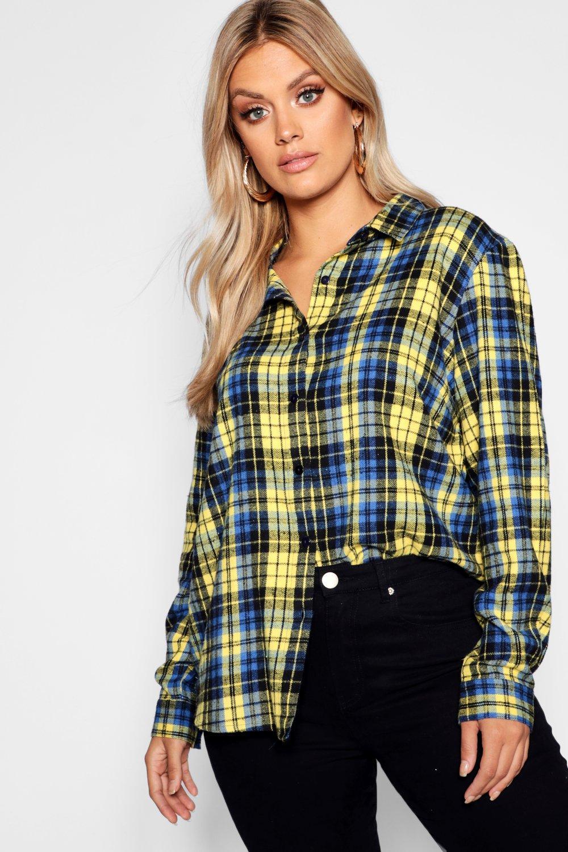 amarillo Camisa a cuadros Plus ancha XxB10qw17