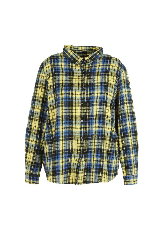 amarillo ancha cuadros a Plus Camisa 7gq1TITU