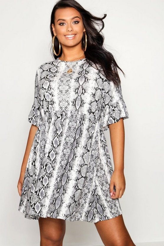 Plus Snake Print Ruffle Sleeve Smock Dress