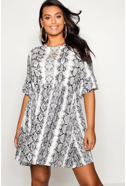 Womens Ivory Plus Snake Print Ruffle Sleeve Smock Dress