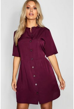 Berry Plus Button Front Smock Dress