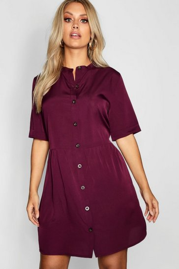 Womens Berry Plus Button Front Smock Dress