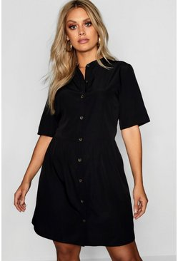 Black Plus Button Front Smock Dress