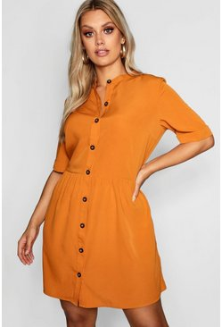Womens Mustard Plus Button Front Smock Dress
