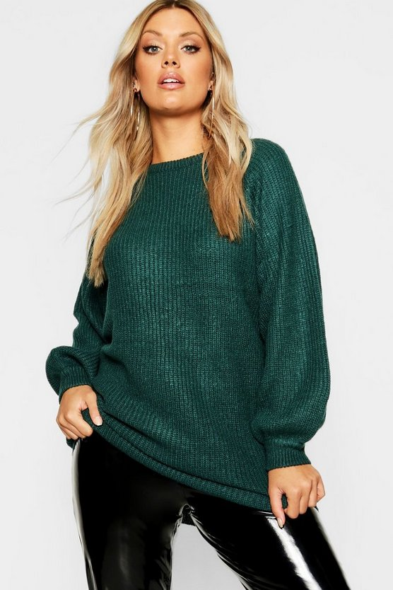 Plus Crew Neck Fisherman Rib Jumper