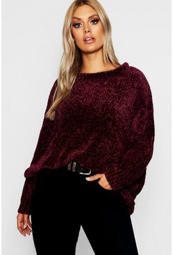 Womens Plus Oversized Soft Chenille Sweater