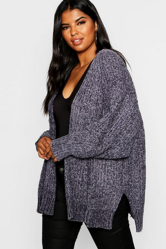 Womens Grey Plus Oversized Chenille Cardigan