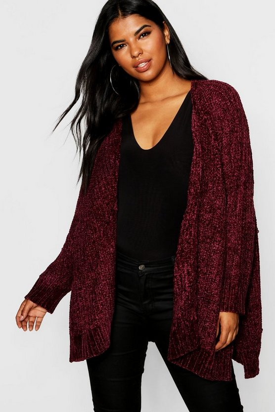 Plus Oversized Chenille Cardigan