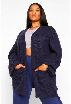 Womens Navy Plus Oversized Front Pocket Detail Cardigan