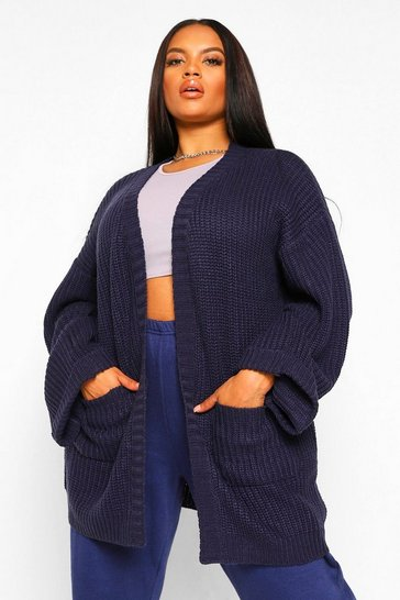 Navy Plus Oversized Front Pocket Detail Cardigan