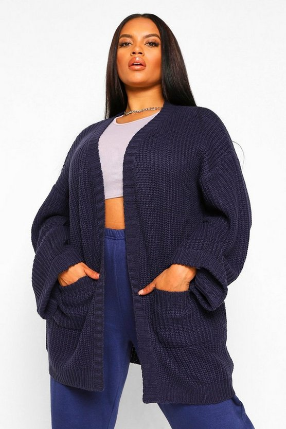 Plus Oversized Front Pocket Detail Cardigan