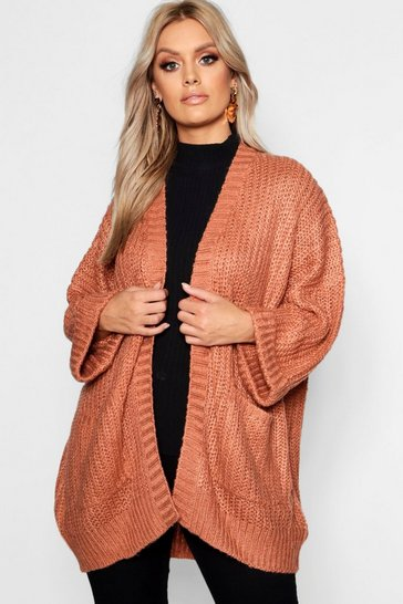 Womens Terracotta Plus Oversized Front Pocket Detail Cardigan