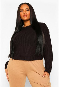 Womens Black Plus Crew Neck Fisherman Rib Jumper