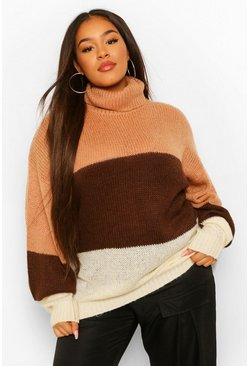 Womens Camel Plus Colour Block Roll Neck Raglan Jumper