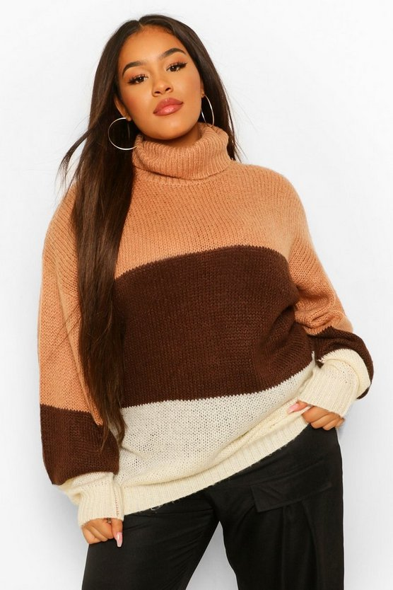 Plus Colour Block Roll Neck Raglan Jumper