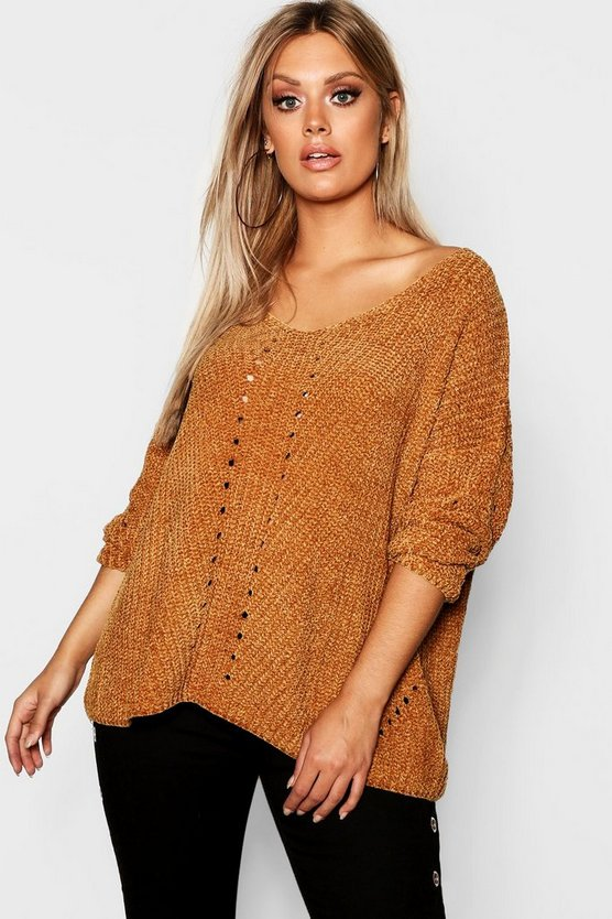 Womens Gold Plus Oversized Chenille Jumper