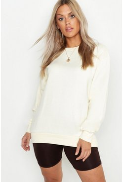 Womens Ecru Plus Crew Neck Oversized Sweater