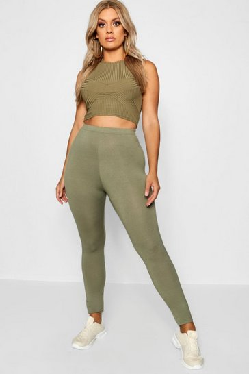 Womens Khaki Plus Basic Leggings