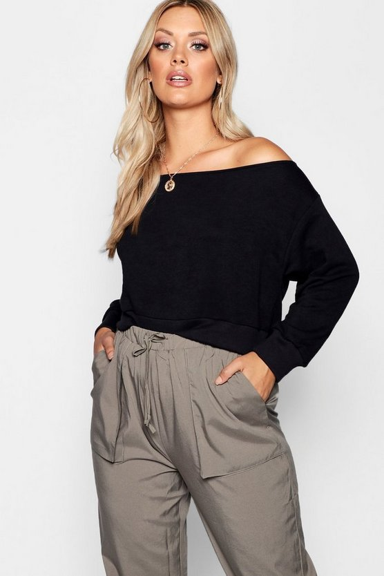 Womens Black Plus Off The Shoulder Sweat Top