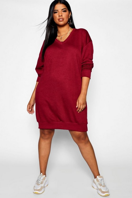 Womens Berry Plus V Neck Sweat Dress