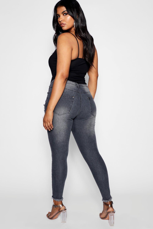 calados elásticos Jeans skinny Plus rasgados gris y 7qO7IcwZWf