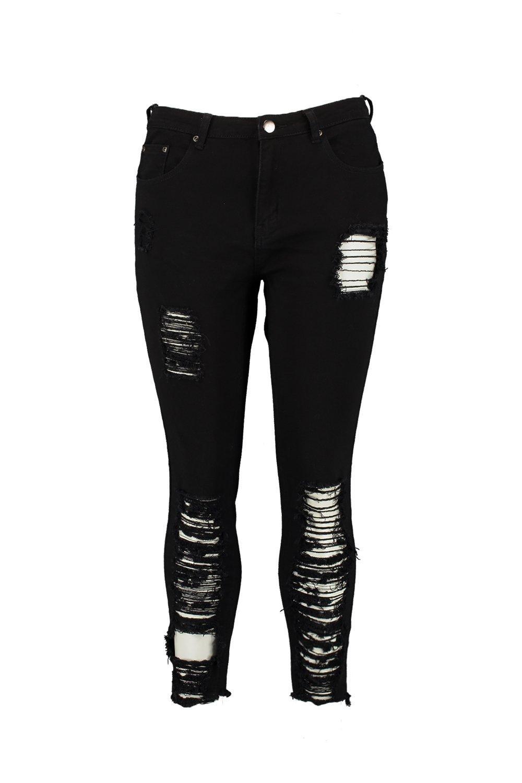 elásticos skinny Plus negro calados Jeans rasgados y 1pxqA