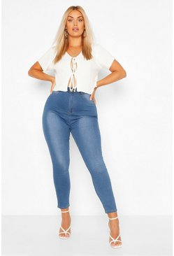 Plus Stretch Jeggings mit Knöpfen in Kontrastfarben, Blau, Damen