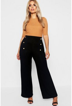 Black Plus Horn Button Wide Leg Jersey Pants