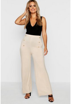 Stone Plus Horn Button Wide Leg Jersey Trouser