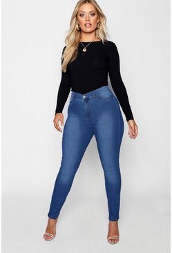 Womens Mid blue Plus Super High Waisted Power Stretch Jeans
