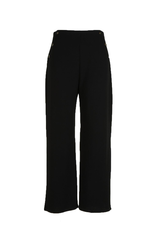 Plus con el Pantalones cuerno frente botones en de negro nBwz7z0q1