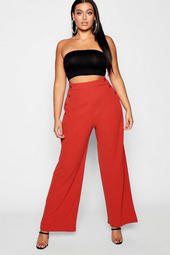 Plus Horn Button Front Trousers