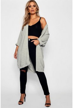 Womens Grey Plus Cocoon Oversized Rib Knit Cardigan