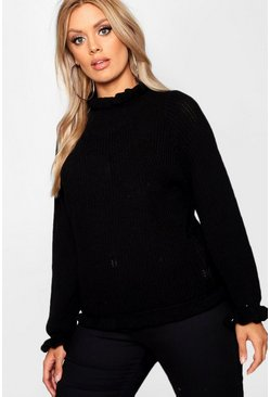 Womens Black Plus Ruffle Neck Oversized Jumper