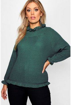 Green Plus Ruffle Neck Oversized Jumper