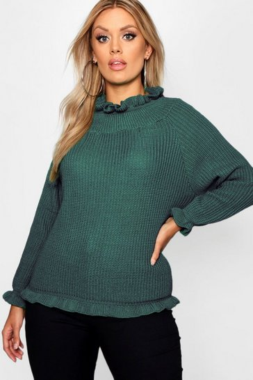 Womens Green Plus Ruffle Neck Oversized Jumper