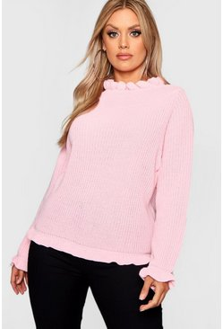 Womens Hot pink Plus Ruffle Neck Oversized Sweater