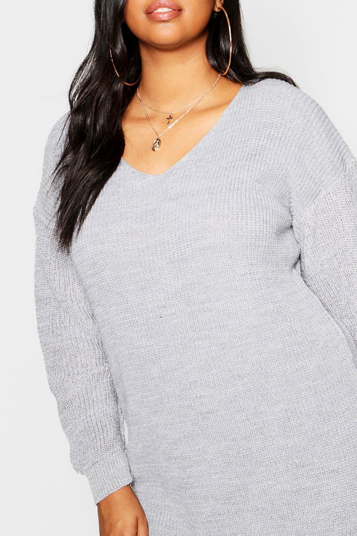 con Plus estilo en cuello Bella Vestido V mini negro suéter tvqZP6