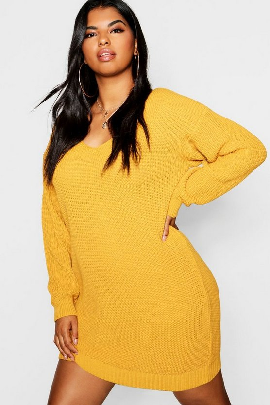 Mustard Plus Bella V Neck Sweater Mini Dress