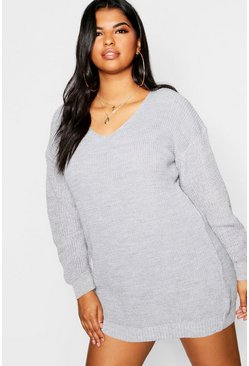 Womens Silver Plus Bella V Neck Jumper Mini Dress