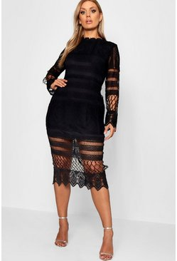 Womens Black Plus Lace Panelled Midi Dress