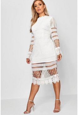 Womens Ivory Plus Lace Panelled Midi Dress
