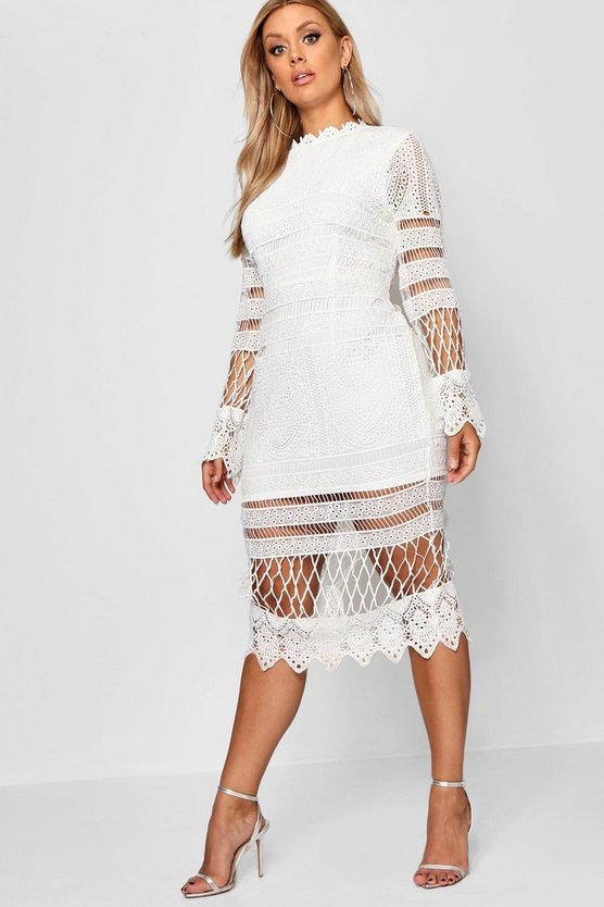 Womens Ivory Plus Lace Pannelled Midi Dress