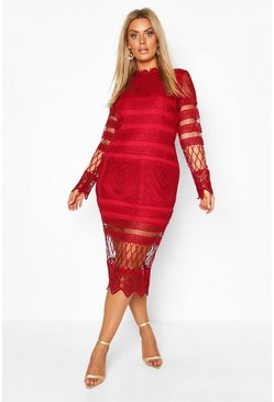 Wine Plus Lace Panelled Midi Dress