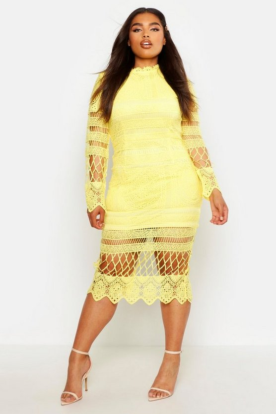 Yellow Plus Lace Panelled Midi Dress