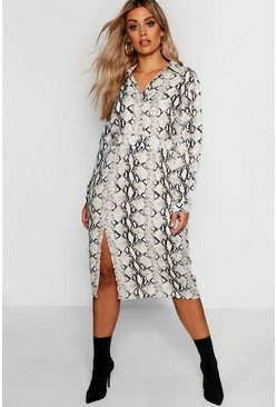 Womens Stone Plus Snake Midi Shirt Dress