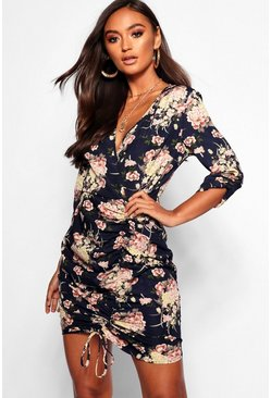Womens Navy Petite Floral Ruched Tea Dress